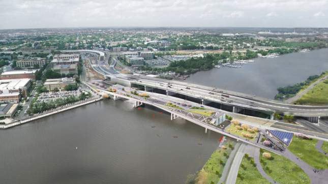Aerial Rendering of elevated park on bridge right next to car-ridden freeway
