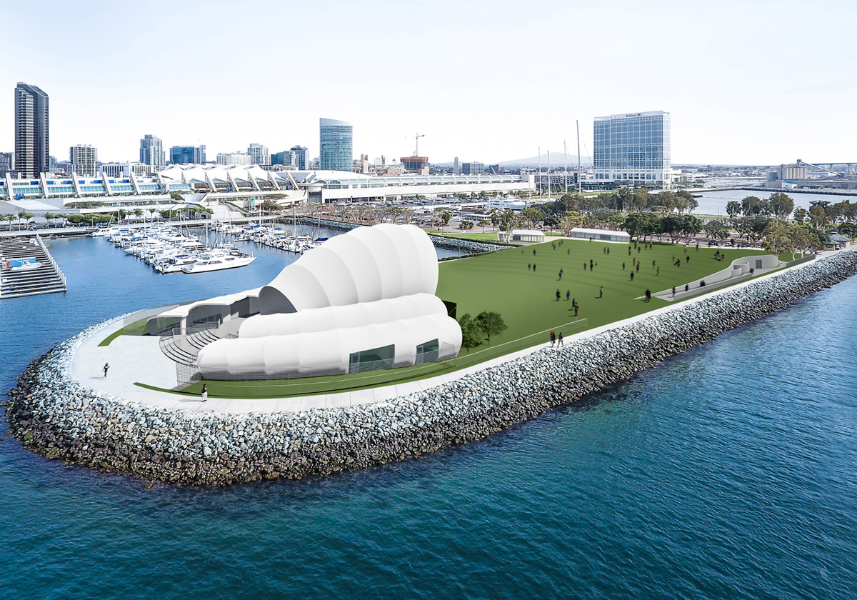Aerial rendering of park peninsula with white performance shell looking over green lawn