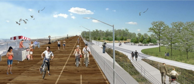 Rendering of a seawall with people bike riding on top