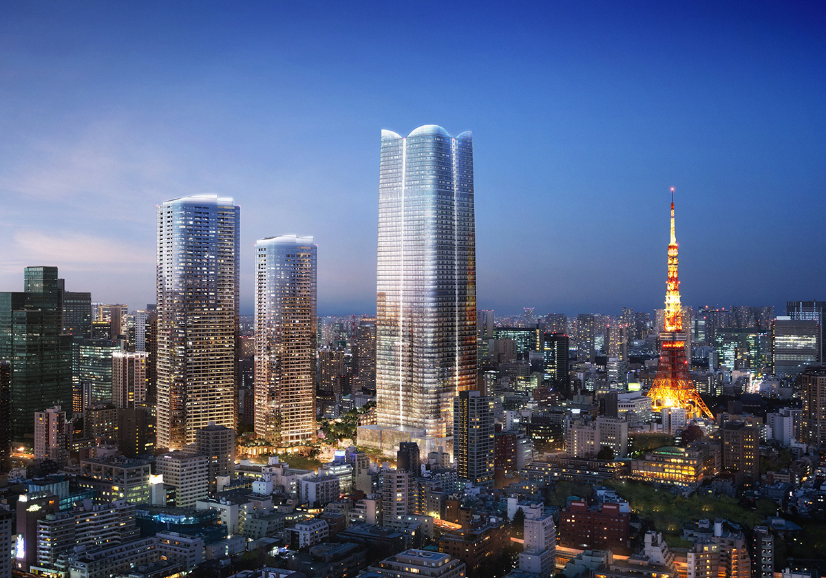 Skyline of Tokyo with upcoming glass tower