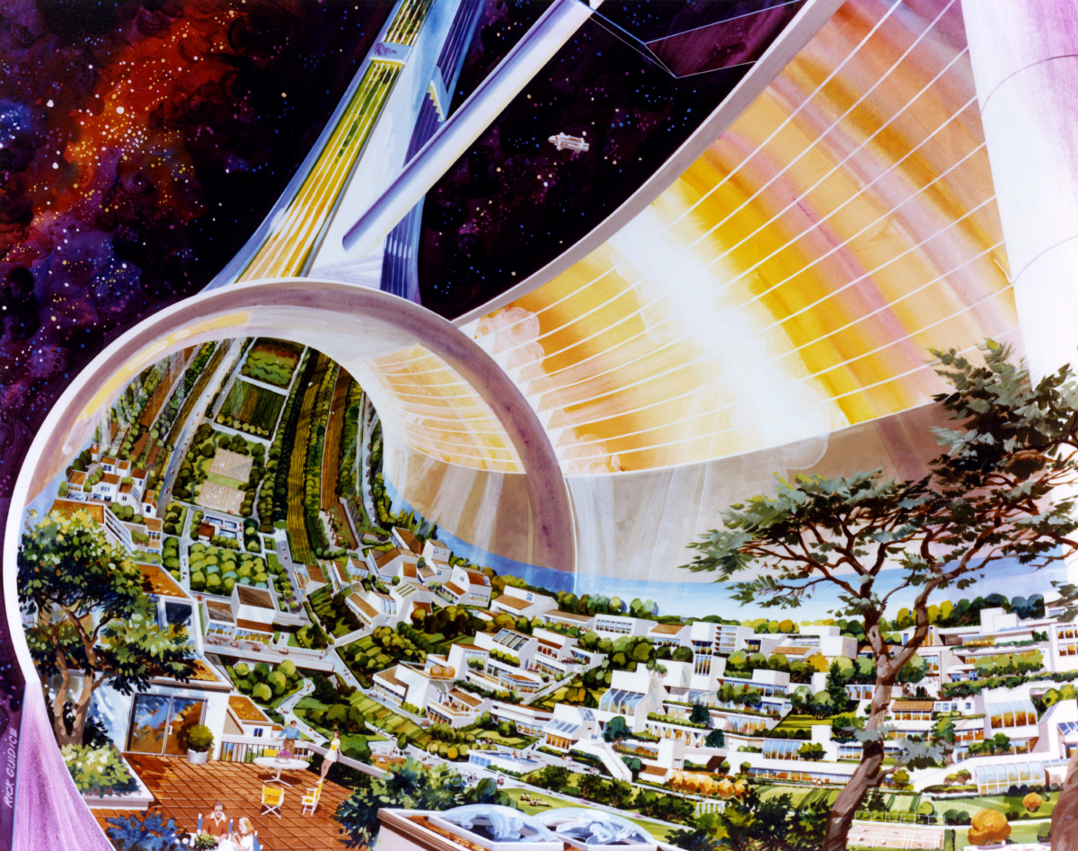 Interior painting of a toroidal space settlement with different buildings stacked on each other
