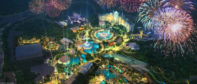aerial view of theme park with pool and fireworks exploding over the Universal's Epic Universe park