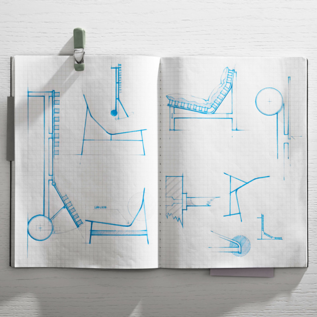 A sketchbook showing different chairs