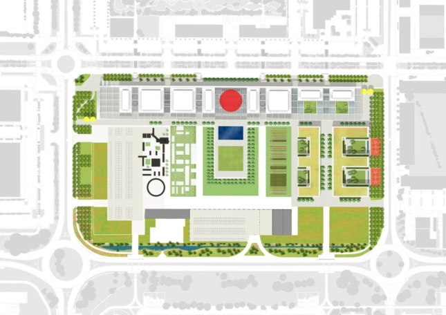 An aerial site plan of a college campus