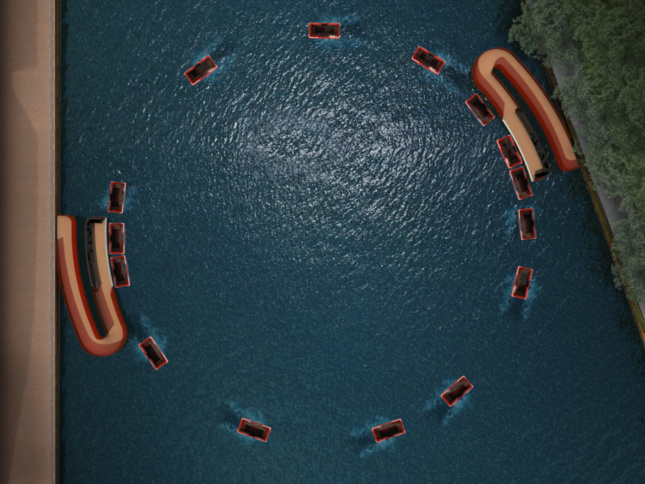 Boats circling in a path