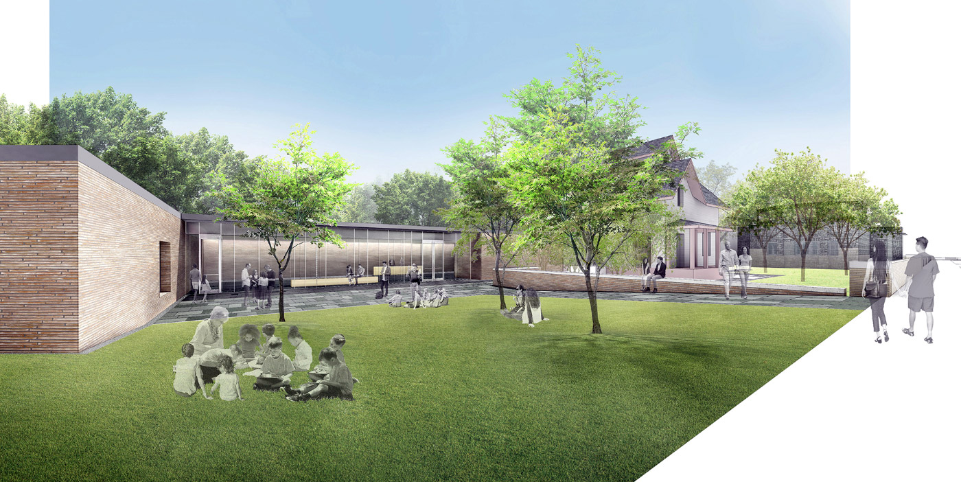 Rendering of a lawn leading from a squat, brick building to an older house as part of the Frank Lloyd Wright campus