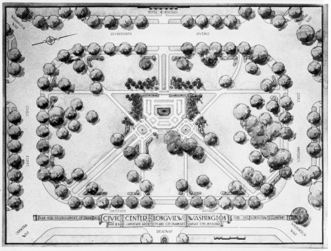 Black and white drawing of a Hare & Hare-designed park