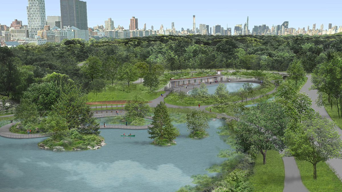 Aerial rendering of Central Park landscape with large ponds