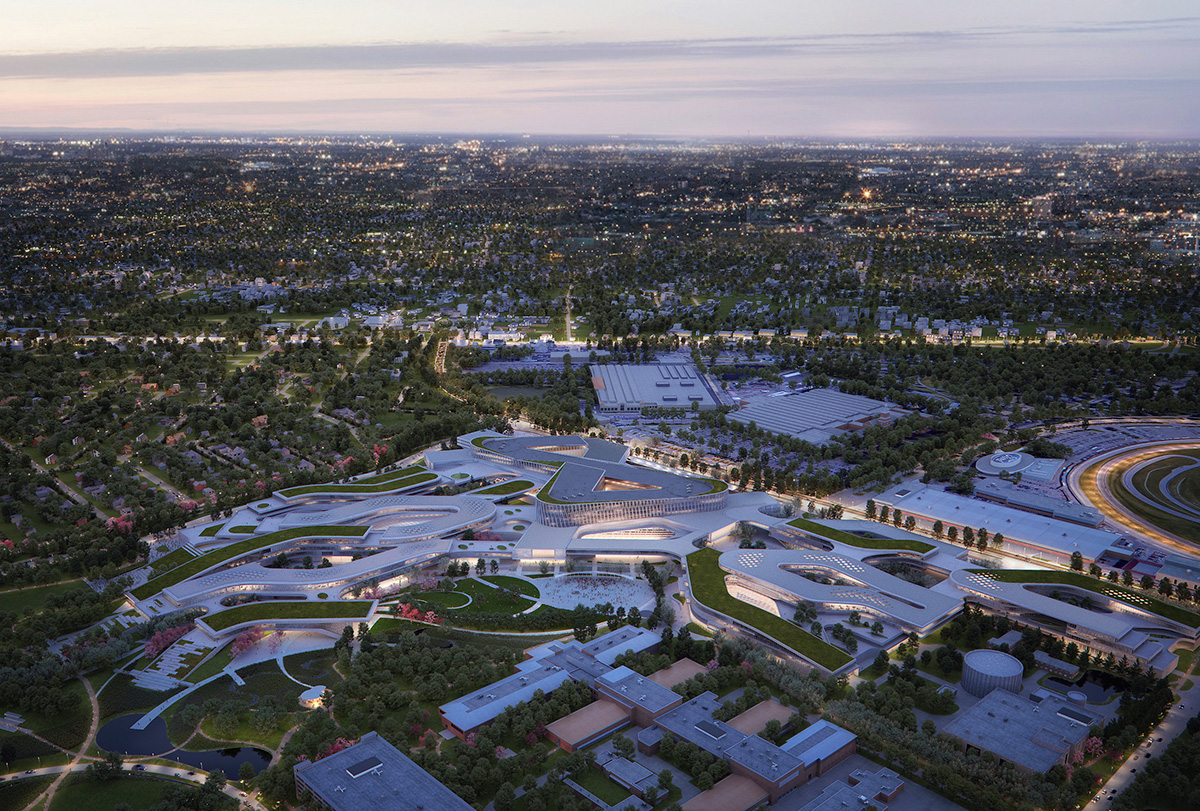 Aerial rendering of manufacturing campus master plan for Ford