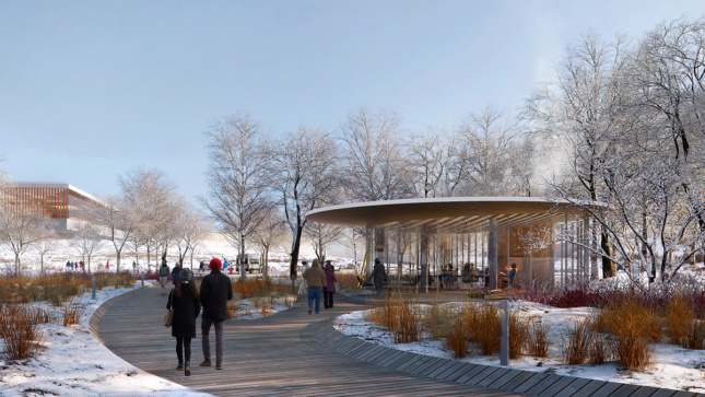 Outdoor rendering of people walking on path in snow next to glass-clad pavilion