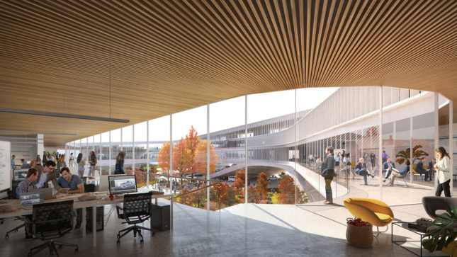 Interior rendering of open office plan with views of courtyard in fall