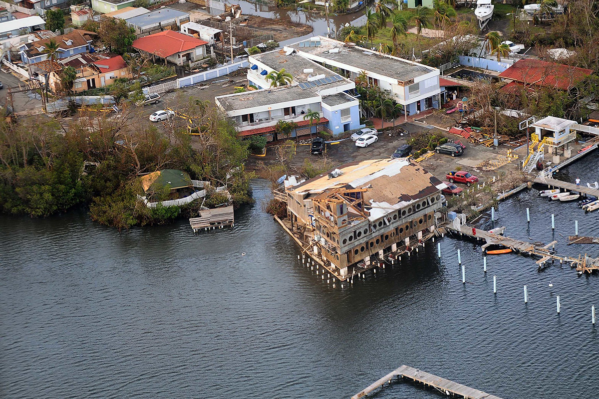 Aerial view of flood zone in Puerto Rico