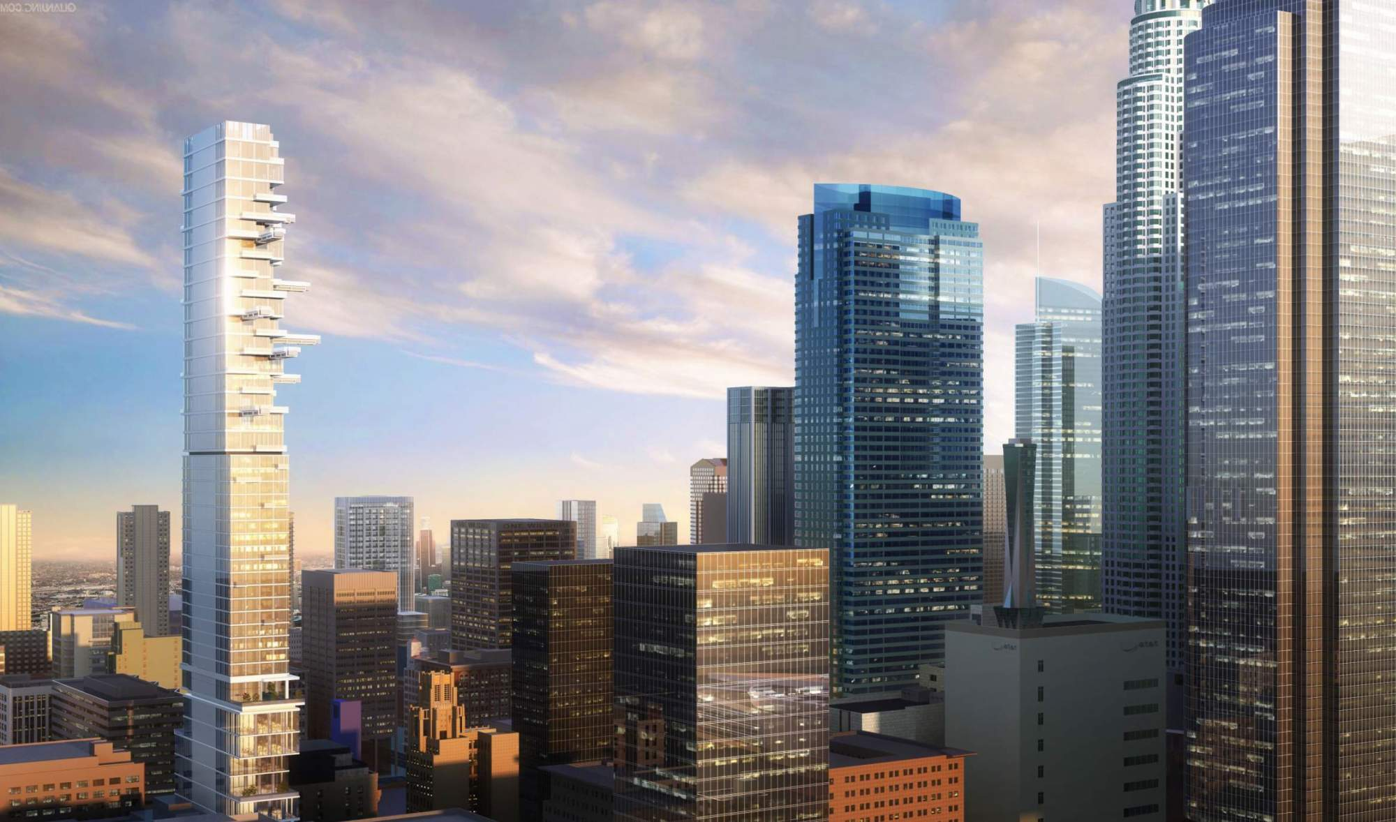Rendering of the new tower at 5th and Hill, a glassy cantilevering box