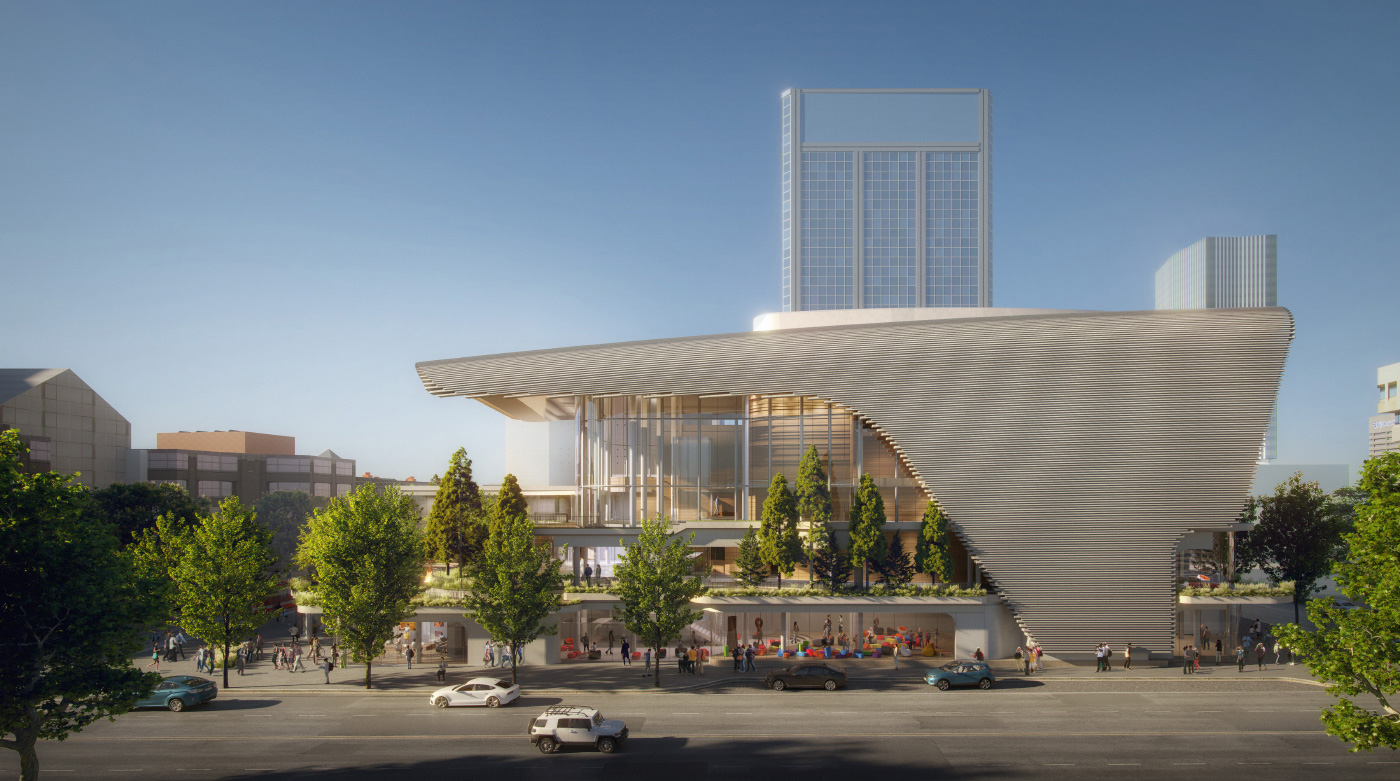 Rendering of the Winspear Project's east elevation