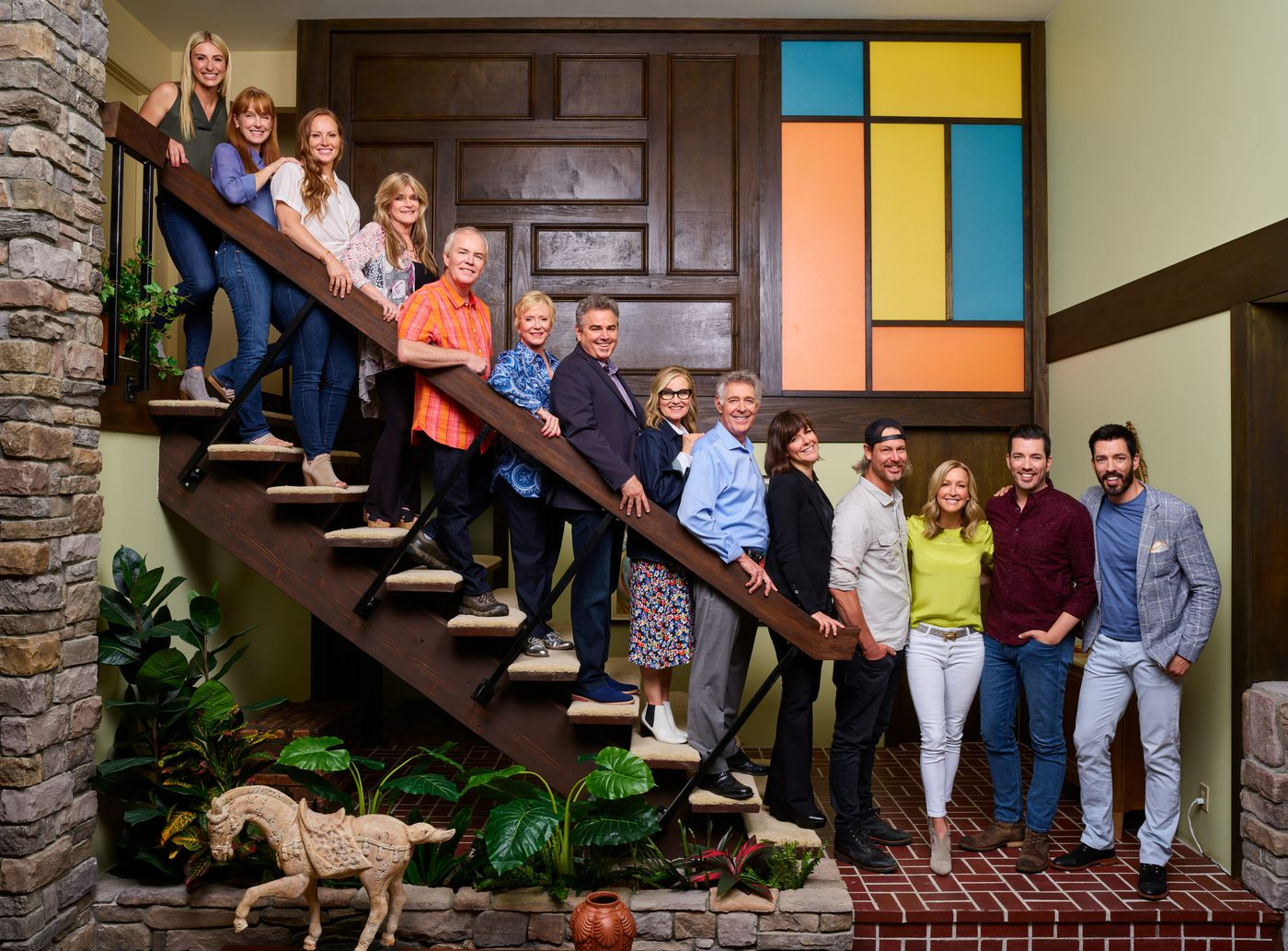 Photo of the Brady Bunch on a staircase