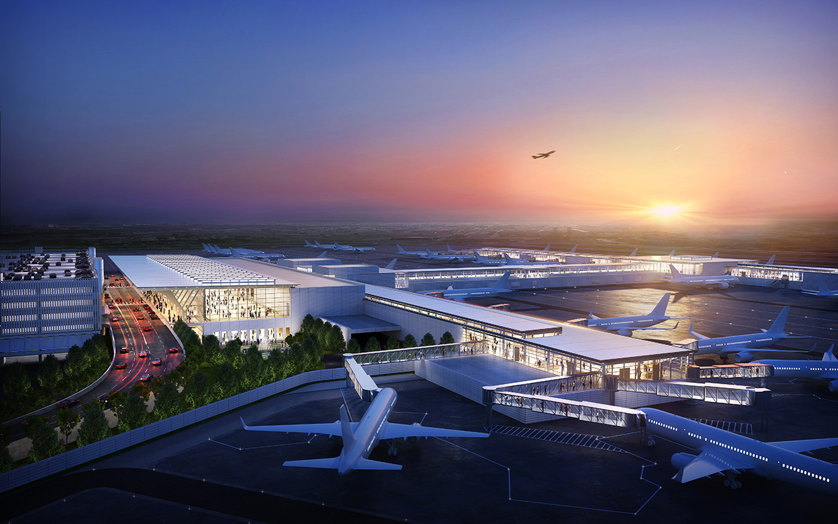 Aerial rendering of the Kansas City airport at sunset