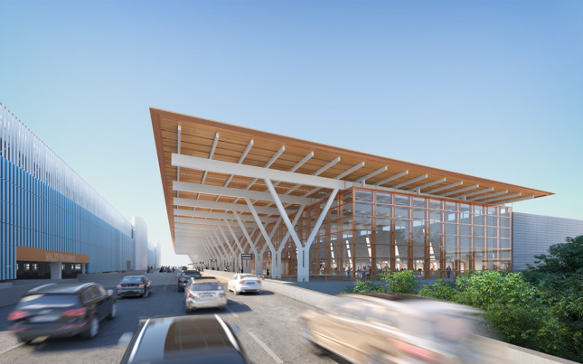 Rendering of flat-roof airport check-in structure, drop-off lane, and garage at the new Kansas City airport
