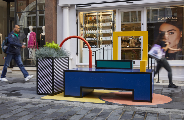 A flashy, primary color benching system on the street for the London Design Festival