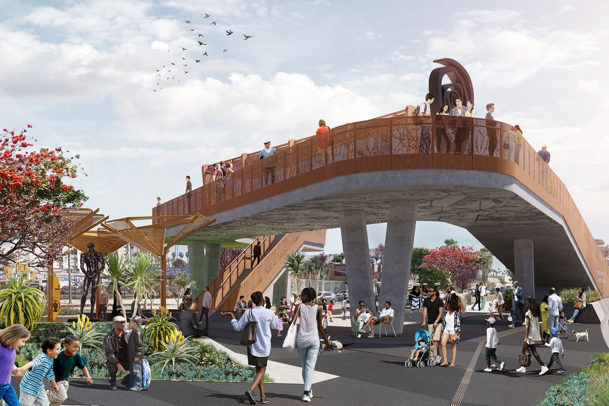 Rendering of Destination Crenshaw, an overpass on the street