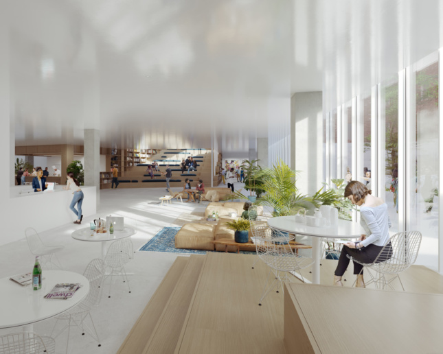 Rendering of an all-white communal space