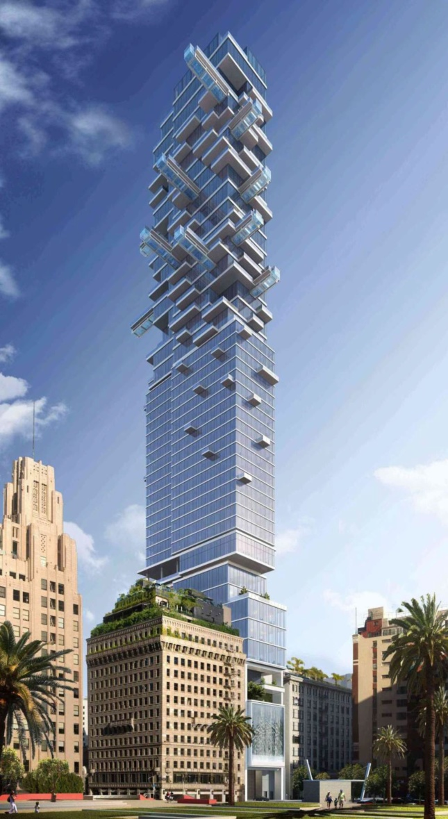 Rendering of a glassy tower that cantilevers at the top