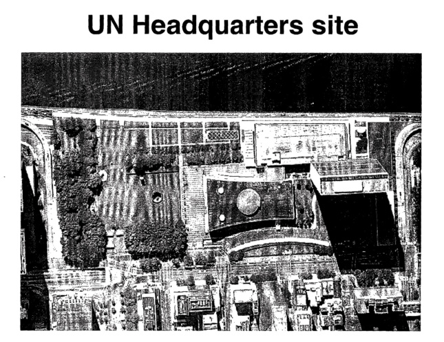 A page that says United Nations Headquarters site showing aerial image of a campus