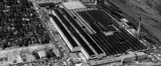 Aerial view of the General Motors Stamping Plant in 1945
