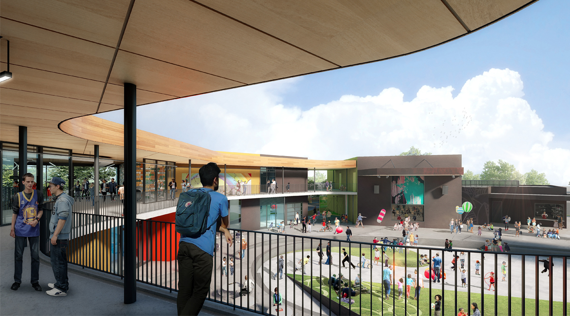 Inside a youth center looking towards the courtyard in east palo alto