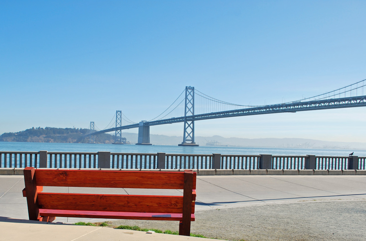 Looking out to Bay Bridge from Embarcadero