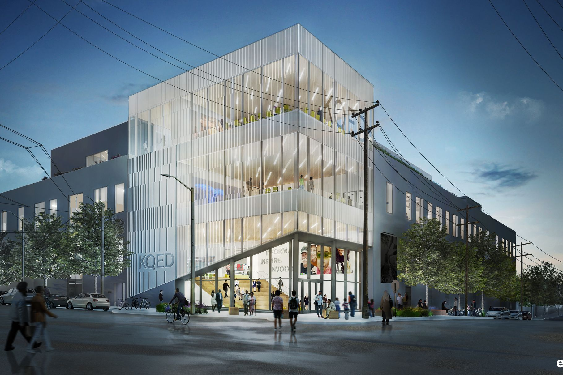 Rendering of a glassy building with KQED on top
