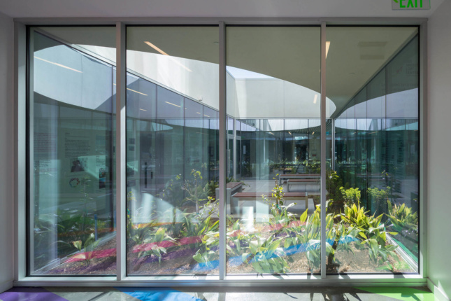 A glass-enclosed courtyard