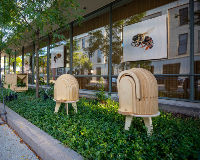 Photo of two different wooden beehive styles during 2019's Exhibit Columbus