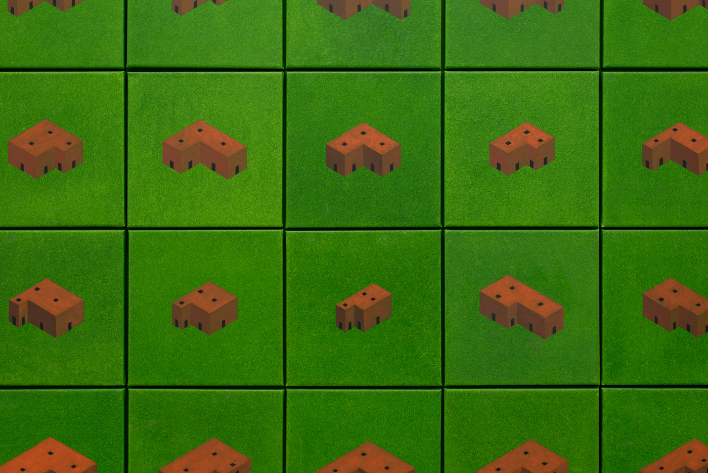 Diagram of repeating buildings on green squares, from Pezo von Ellrichshausen