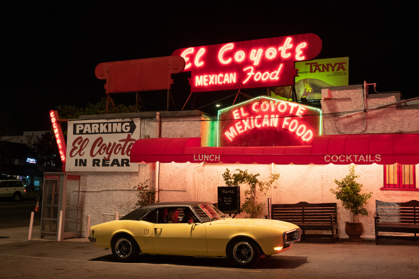 A Mexican restaurant covered in neon lights in a still from Once Upon a Time in Hollywood