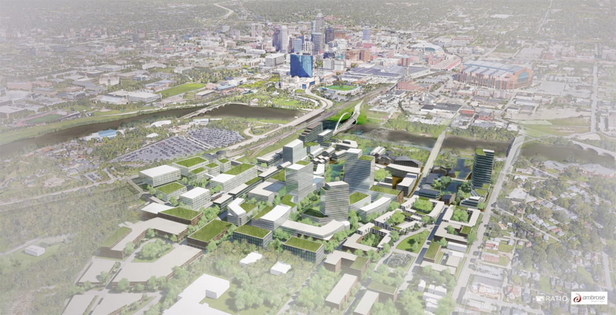 Aerial rendering of downtown Indianapolis development with lush greenery and mixed use buildings