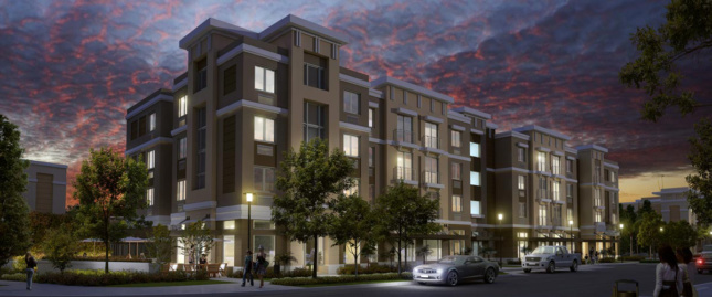 Rendering of housing complex at night