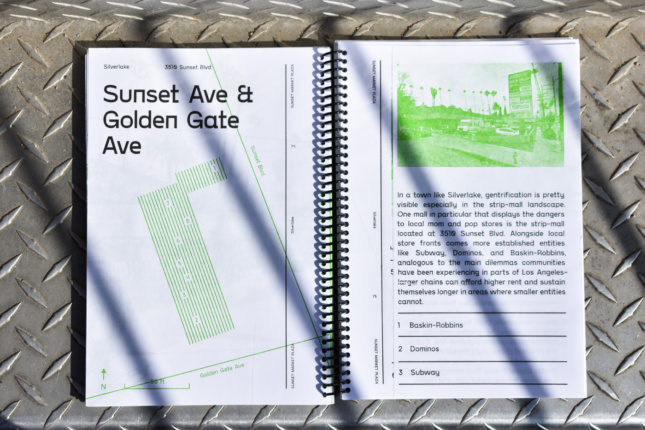 Interior of a book with the words Sunset Market Plaza