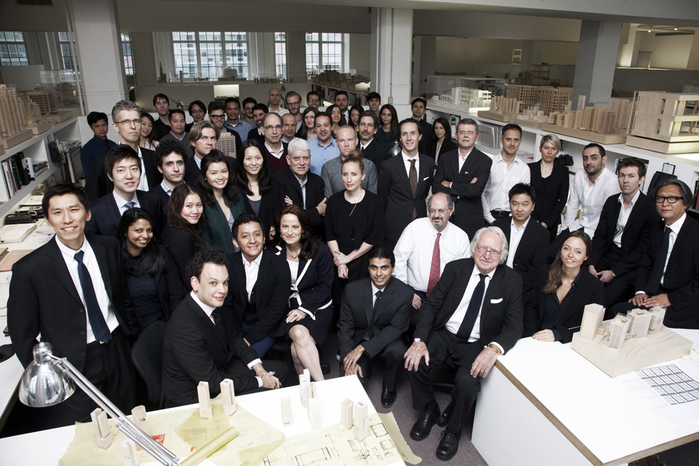 Large aerial shot of team including Richard Meier in the front