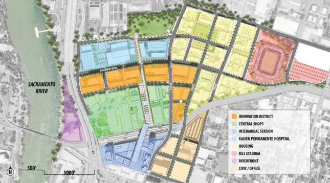 Map of potential development within The Railyards