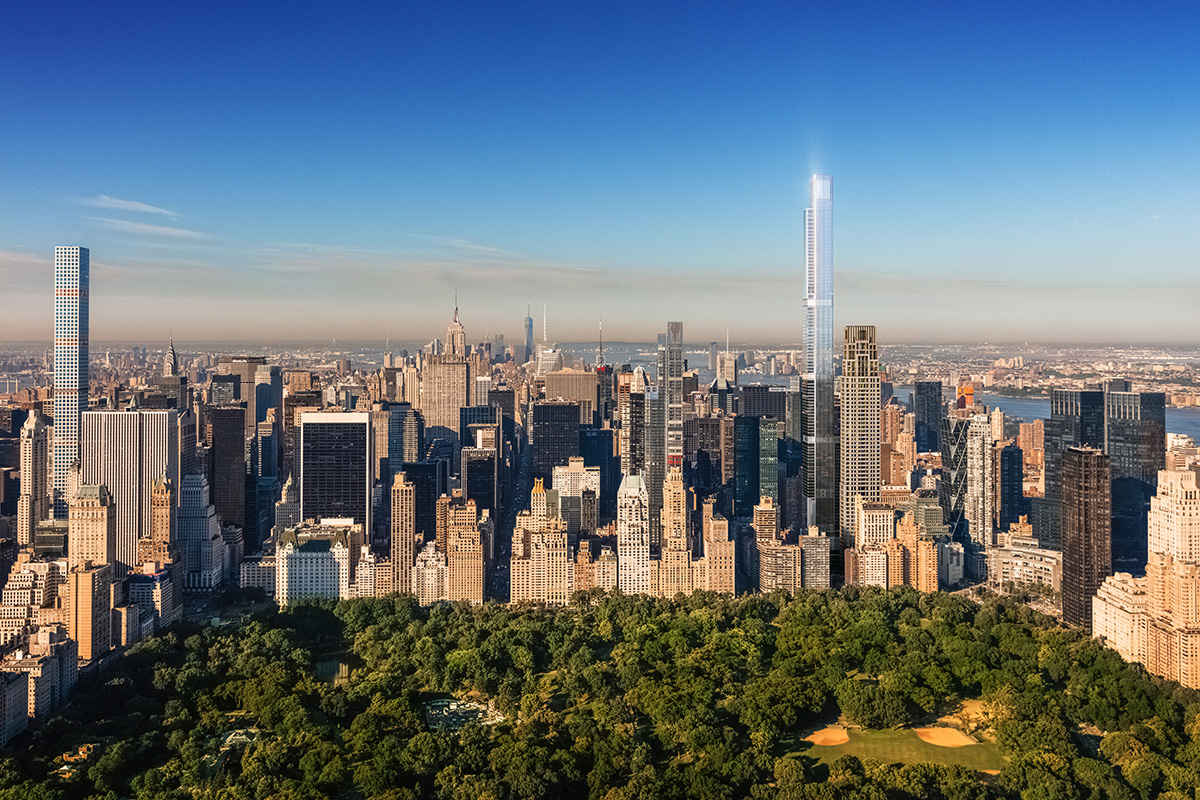 Aerial rendering looking at Central Park South of supertall buildings