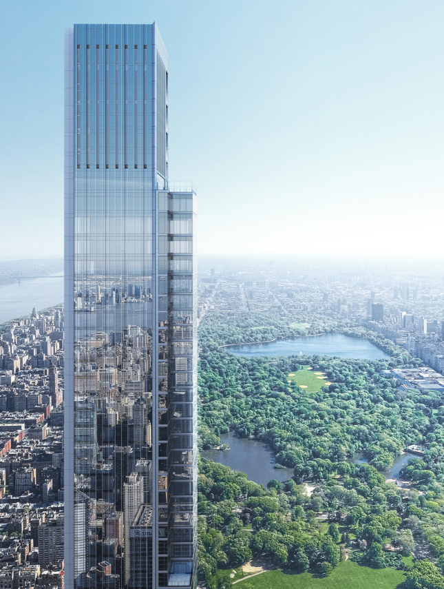 Aerial rendering looking at top of glass-clad tower over Central Park