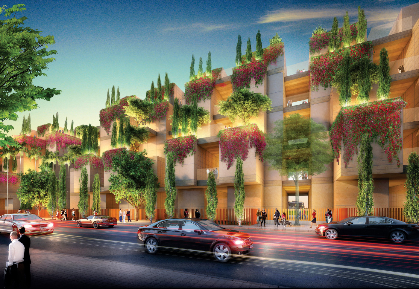 Rendering of a towering addition next to the for Hollywood Forever Cemetery with plants