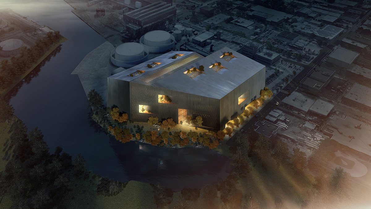 Aerial rendering of film production studio lit up at night, owned by Robert De Niro