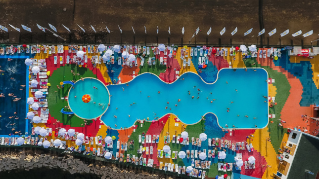 Aerial photo of a colorful pool