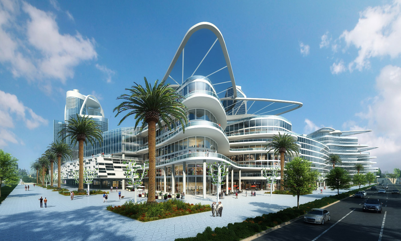 Rendering of a group of curvilinear glass and concrete buildings surrounded by palm trees; Bleutech Park