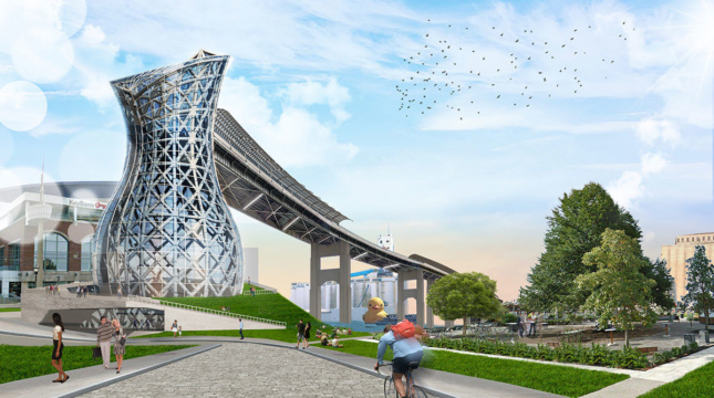 Rendering of a tower rising over Buffalo