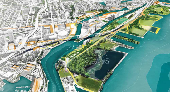 Rendering of an elevated beltline system over a waterfront