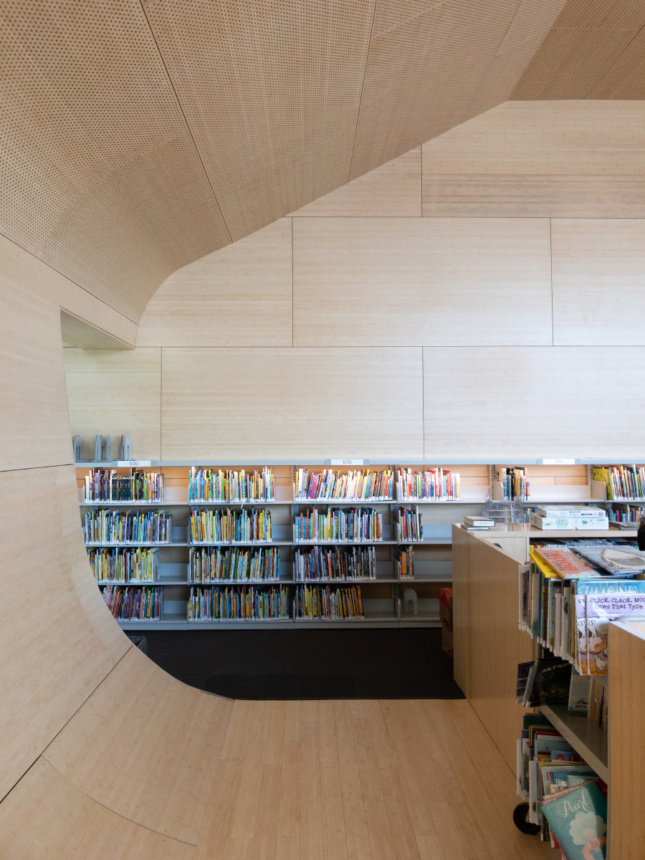 Interior of a reading space with bamboo canopy