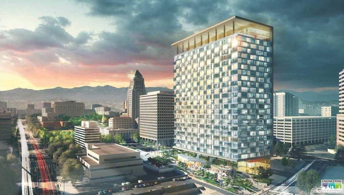 Rendering of office down in L.A., which would replace the demolished Parker Center