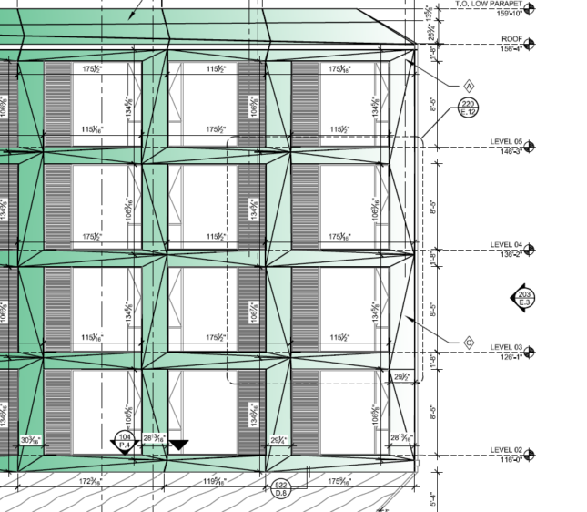 Detail of facade modules that depict extruded window frames in green